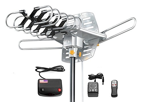 Amplified HD Digital Outdoor HDTV Antenna 150 Miles Long Range with Motorized 360 Degree Rotation, UHF/VHF/FM Radio with Infrared Remote Control