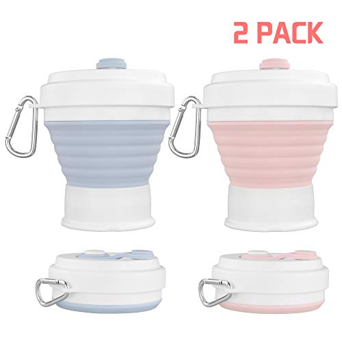 Silicone Collapsible Reusable Coffee Cup, Portable Foldable Lightweight Camping Cup with Lid, Expandable Water Cup for Hiking Travel Sport, 12 Oz (350ml) Coffee Mug, Leak Proof, BPA Free (Blue+Pink)