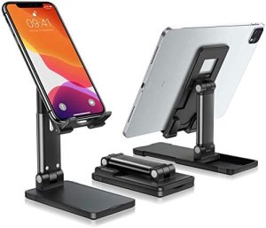 eSamcore Cell Phone Stand for Desk, [Updated] Extended Foldable iPhone Holder Adjustable iPad Stand Dock Compatible with 4″-12.9″ Mobile Phone/Tablet/Kindle/Samsung Galaxy Smartphones