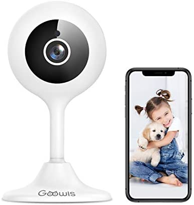 WiFi Camera Indoor, Goowls 1080p HD Home Security Camera 2.4GHz Plug-in IP Dog Camera for Pet/Baby/Nanny with Motion Detection Night Vision 2-Way Audio Cloud & SD Card Storage, Works with Alexa
