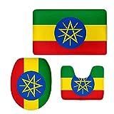 The Ethiopian Flag 3 Piece Bathroom Rug Set Bath Rug 3-Piece Traditional Nylon Washable Bathroom Rug Set Toilet Seat Cover Combo The Ethiopian Flag