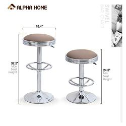 ALPHA HOME Swivel Bar Stool Counter Height Round PU Leather Adjustable Chair Pub Stool with Chrome Footrest (Khaki, 1 pc)