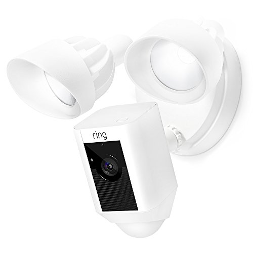 Ring Floodlight Camera Motion-Activated HD Security Cam Two-Way Talk and Siren Alarm, White