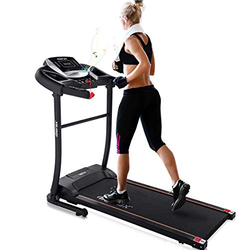 Merax Electric Folding Treadmill - Easy Assembly Fitness Motorized Running Jogging Machine with Speakers for Home Use, 12 Preset Programs (Black)