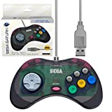 Retro-Bit Official Sega Saturn USB Controller Pad for PC, Mac, Steam, RetroPie, Raspberry Pi -  USB Port - Slate Grey