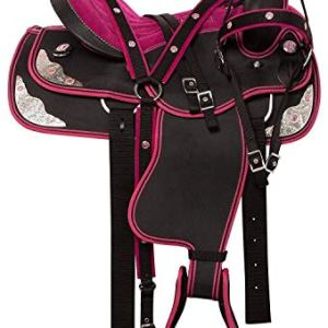 Synthetic Western Horse Saddle Barrel Racing Tack Pink d 8 Size 14″-18″ (18 Inches)