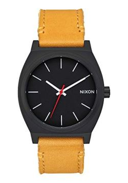 Nixon Time Teller Matte Black/Orange Men's Watch (37mm. Matte Black Face/Orange Leather Band)