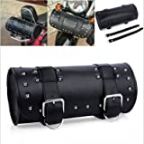 DLLL Universal Black Motorcycle Round Barrel PU Leather Tool Side Front Bag Panniers Saddle Bag for Harley Cruiser Honda Suzuki Yamaha Kawasaki ATV Scooter Choppers