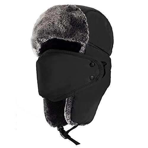mysuntown Unisex Winter Trooper Hat Hunting Hat for Men and Women Ushanka Ear Flap Chin Strap and Windproof Mask