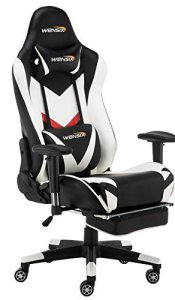 WENSIX Gaming Chair Ergonomic Racing Style Computer Chair Swivel High-Back Computer Chair PC Chair Adjustable Footrest with Lumbar Support and Headrest Pillow (White-002)