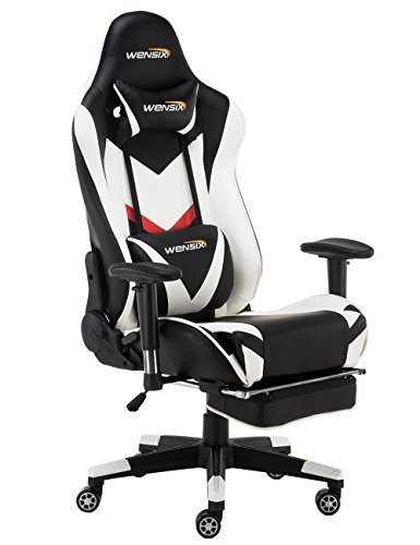 WENSIX Gaming Chair with Headrest High-Back Ergonomic Racing Chair with Lumbar Support PU Leather 90-180 Degree Adjustable of backrest Computer Chair with Retractible Footrest(White-002)