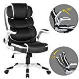 YAMASORO Heavy Duty Black Office Chair Desk Chair Stylish High Back Computer Chair with Adjustable Arms and Back Support for Heavy People
