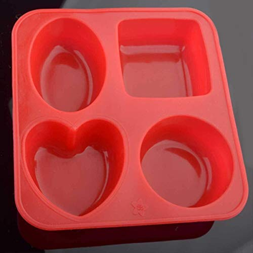 41tiiz8CORL - Bulfyss Silicone Circle, Square, Oval and Heart Shape Soap Cake Making Mould, Multicolor