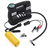 Heavy Duty Double Cylinders Portable Air Compressor Pump Automotive 12 V, HERCHR 60 liter/min Tire Inflator for Car, SUV, Bike, Dinghy, Air Bed, A Must Have for Road Trip, Camping, Emergency