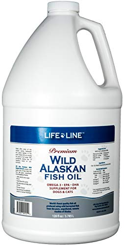 Life Line Pet Nutrition Wild Alaskan Fish Oil Omega-3 Supplement for Skin & Coat - Supports Brain, Eye & Heart Health in Dogs & Cats