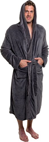 Ross Michaels Mens Hooded Robe - Plush Shawl Kimono Bathrobe (Grey, S/M)