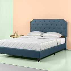 ZINUS Andover Upholstered Bed Frame / Tufted Bed Frame with Nailhead Detail / Adjustable Headboard / Easy Assembly…
