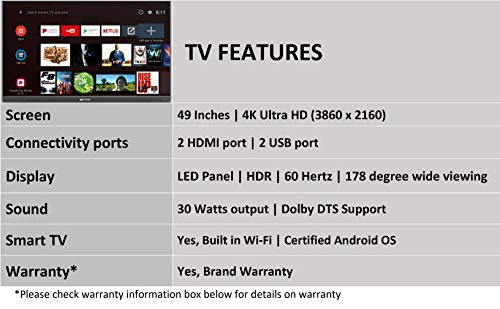 Micromax 124 cm (49 inches) 4K UHD LED Certified Android TV 49TA7000UHD (Matte Grey) 4