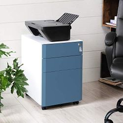SONGMICS Mobile File Cabinet, Lockable, Metal Filing Pedestal with 3 Drawers, for Document, Stationery, Hanging Folder, White and Slate Blue UOFC70WB