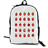 Emoji Outdoor 3 day package Apple with Facial Expressions Happy Sad with Glasses Singing Confused Pattern Suitable for school, outdoor sports 16.5 x 12.5 x 5.5 Inch Red Green Black
