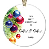 Mrs. & Mrs. Our 1st Christmas Ornament 2019 First Holiday Married Lesbian Couple Gay Women Life Partners Marriage Festive Colorful Wedding Keepsake 3' Flat Ceramic w Gold Ribbon Free Gift Box OR00470