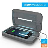 PhoneSoap 3 UV Cell Phone Sanitizer and Dual Universal Cell Phone Charger | Patented and Clinically Proven UV Light Sanitizer | Cleans and Charges All Phones - Silver