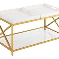 Convenience Concepts St. Andrews Coffee Table, White / Gold