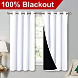 NICETOWN White 100% Blackout Lined Curtains, 2 Thick Layers Completely Blackout Window Treatment Thermal Insulated Drapes for Kitchen/Bedroom (1 Pair, 52' Width x 63' Length Each Panel)