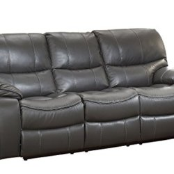 Homelegance Pecos Leather Gel Manual Double Reclining Sofa, Gray