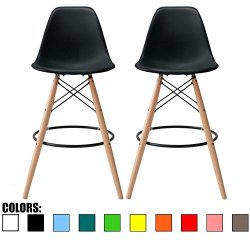 "2xhome Set of 2 28"" Seat Height Black Mid Century Modern Plastic Side Armless No Arms DSW Molded Shell Bar Stool Stools with Back Counter Height High Chairs Counter Wooden Wood Eiffel Kitchen"