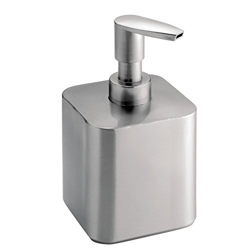 InterDesign Gia Stainless Steel Soap & Lotion Dispenser, for Kitchen or Bathroom Countertops - Short, Brushed