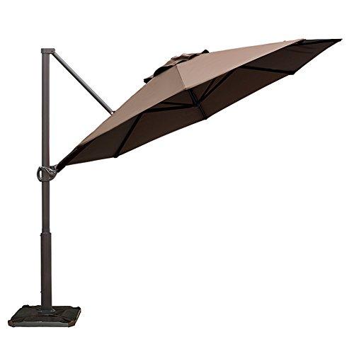 Abba Patio Offset Cantilever Umbrella 11-Feet Outdoor Patio Hanging Umbrella with Cross Base, Cocoa
