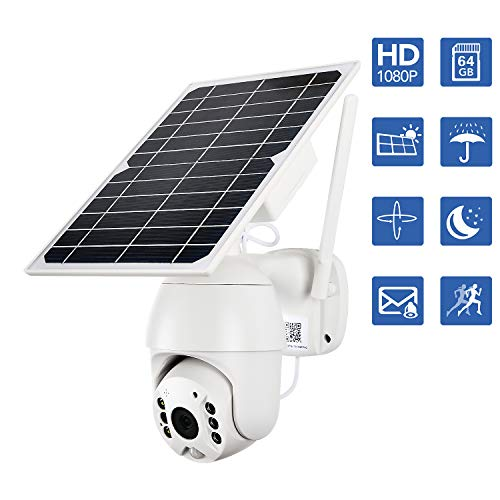 NuCam-Solar-Powered-PTZ-WiFi-Security-Camera-Wireless-Outdoor-64Gb-Memory-Card-350100-XY-Axis-Adjustable-1080P-HD-Colored-Night-Vision-w-PIR-Motion-Sensor-DIY-Surveillance-System-WiFi