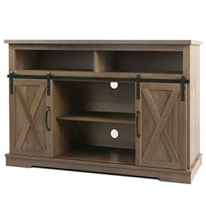 WLIVE Farmhouse TV Stand with Barn Door, Rustic Entertainment Center for 50 55 60 inch Flat Screen, Media Console with…