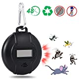 Josey Portable Ultrasonic Pest Repeller, Solar Powered or Micro USB Powered Ultrasonic Mosquito Repellent with USB Data Cable for Cockroach, Spider, Ant, Mouse, Bed Bugs and Fleas, Human & Pet Safe