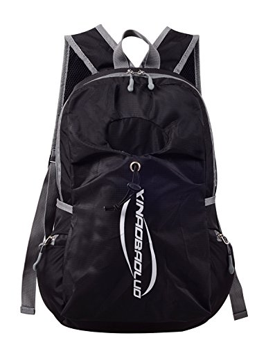 XABL Durable Lightweight Travel Hiking Foldable Backpack Daypack (Black)