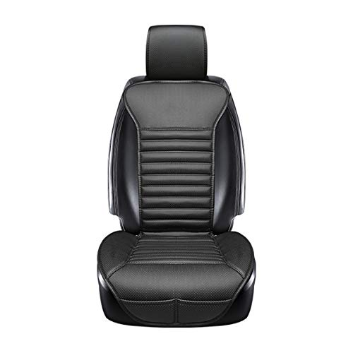 DINKANUR Cover Cushions PU Leather Bamboo Charcoal Car Interior Seats Suit for Most Cars with slim Waistline Backrest (1 PCS ) (black)
