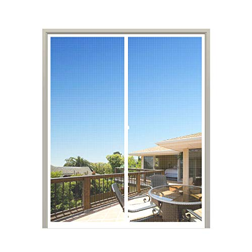 MAGZO Magnet Screen Door 72 x 80, French Door Magnetic Mesh with Heavy Duty Fits Door Size up to 72'x80' Max-White