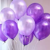 100pcs Balloons Purple & Lavender Mixed Balloons 10' Latex Balloon Shining Pearl Balloons for Wedding Birthday Party Festival Christmas Decorations 0.077oz