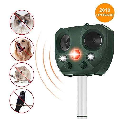 Wikomo Solar Powered Animal Repeller, Waterproof Outdoor Repeller with Ultrasonic Sound, LED Flashing Light and Motion Sensor for Cats, Dogs, Squirrels, Racoon Groundhog Skunk