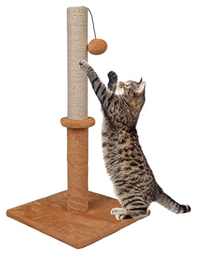 "Dimaka 29"" Tall Cat Scratching Post, 14"" Squre Base, Sisal Rope Scratcher Tree Covered with Soft Smooth Plush Carpet, Vertical Scratch, Modern Design 29 Inches Height 1"