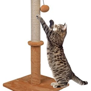 Dimaka 29″ Tall Cat Scratching Post, 14″ Squre Base, Sisal Rope Scratcher Tree Covered with Soft Smooth Plush Carpet, Vertical Scratch, Modern Design 29 Inches Height