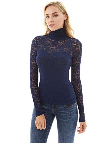 6ac8b5f4316 PattyBoutik Women s Turtleneck Sheer Lace Blouse - Mudii Boutique
