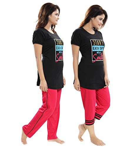 "TUCUTE Women/Girls Cotton Hosiery 3 pcs Top, Pajama & Capri Nightwear/Nighty/Nightsuit/Loungewear/Nightsuit (Top,Pajama & Capri) Size: Large=38"" XL-40 & XXL-42 2"