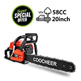 Yiilove COOCHEER 20' 58CC Gas Powered Chainsaw 2 Stroke Handed Petrol Gasoline Chain Saw for Cutting Wood with Tool Kit (58CC-Red)