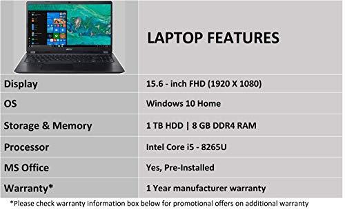Acer Aspire 5S Core i5-8265U 8th gen 15.6-inch Full HD Thin and Light Laptop (8GB/16GB Optane/1 TB HDD/2GB NVIDIA GeForce MX130 Graphics/Microsoft Office 2016/Win10/Obsidian Black/1.8 kg), A515-52G 5