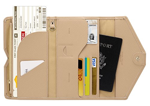 Zoppen Multi-purpose Rfid Blocking Travel Passport Wallet (Ver.4) Tri-fold Document Organizer Holder, Hazelnut