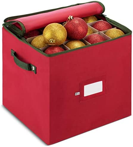 ZOBER Christmas Ornament Storage Box with Zippered Closure – Protect & Keeps Safe Up to 64 Holiday Ornaments & Xmas Decorations Accessories, Durable Non-Woven Ornament Storage Container, Two Handles
