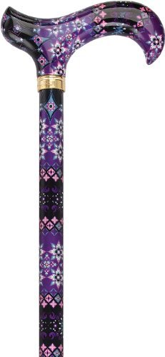 Royal Canes - Pretty Purple Designer Adjustable Derby Walking Cane with Engraved Collar