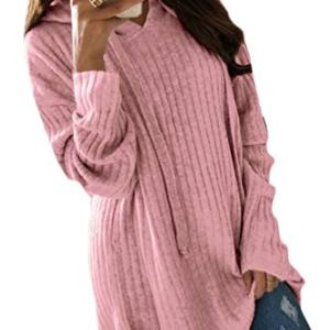 ouxiuli Women Long Sleeves Pure Color Oversized Cozy Hood Pullover Knitted Sweater